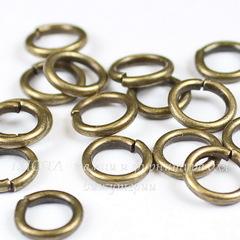 Комплект колечек одинарных 7х1,2 мм (цвет - античная бронза), 10 гр (примерно 60 штук)