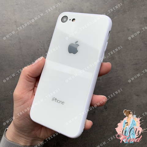 Чехол iPhone 7/8 Glass Full color Case Logo /white/