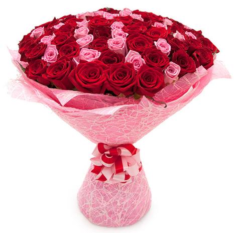 Букет из 101 розовых и красных роз (местные 2)