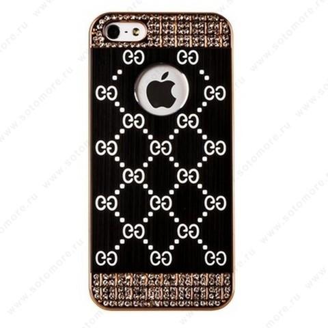 Накладка GUCCI металлическая для iPhone SE/ 5s/ 5C/ 5 золото черная