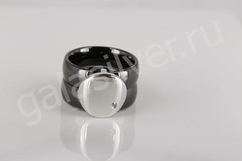 Кольцо с керамикой и цирконом из серебра 925