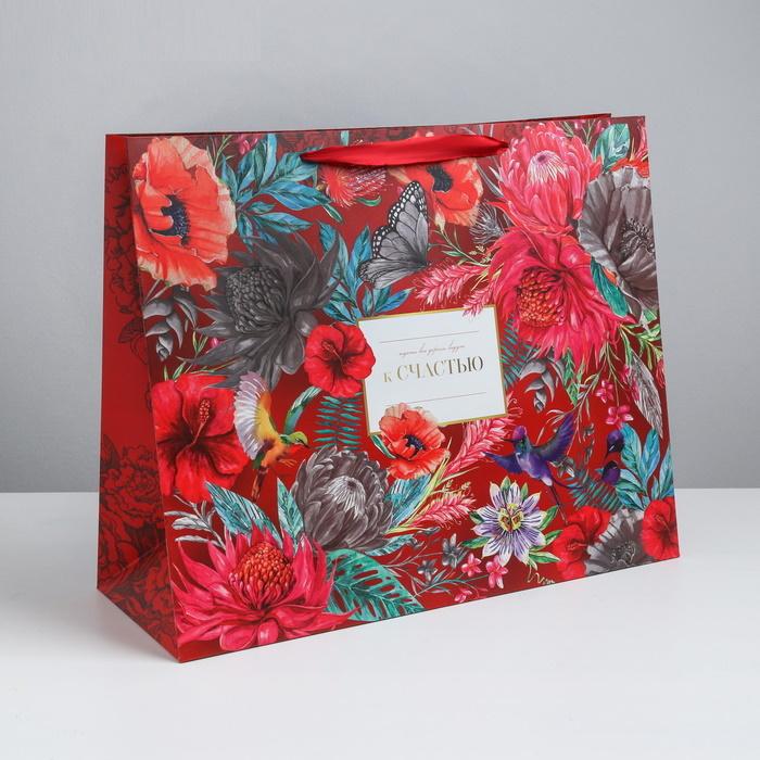 Пакет большой женский К Счастью с цветами 49 40 19 см фото