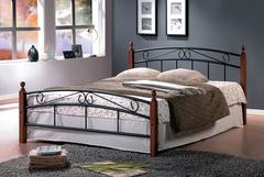 Кровать АТ-8077 200x140 (Double Bed металл) Черный/Красный дуб