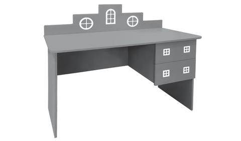 детский письменный стол в виде домика серый