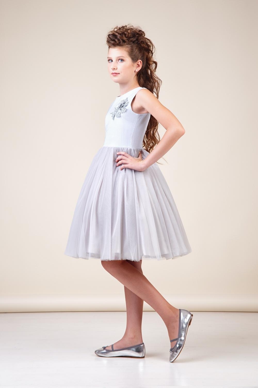 Платье серебристое для девочки 38-8037-2
