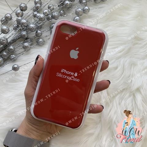 Чехол iPhone 7/8 Silicone Case /camellia white/ винный 1:1