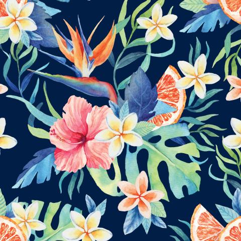 Тропические цветы. Синий