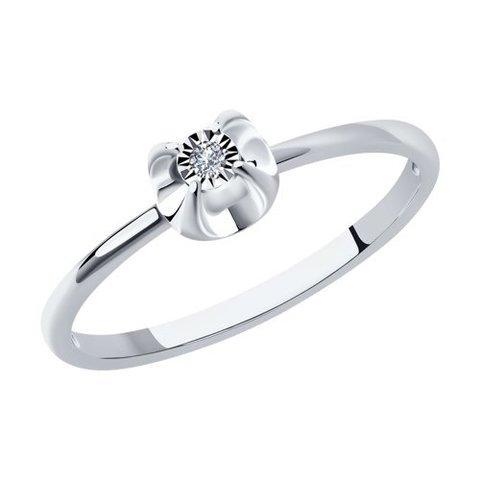 1012106-3 - Кольцо помолвочное из белого золота с бриллиантом