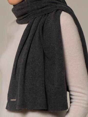Женский шарф темно-серого цвета из 100% кашемира - фото 2
