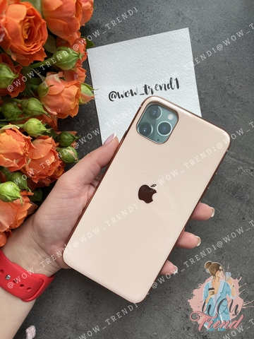 Чехол Iphone 11 Pro Max Glass Silicone Case Logo /rose gold/