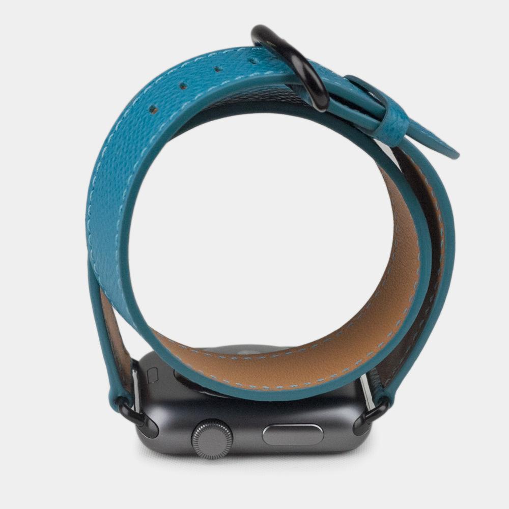 Ремешок для Apple Watch 42мм ST Double Strap из натуральной кожи теленка, морского цвета