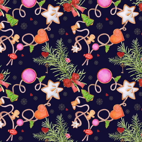 Christmas seamless pattern. Gingerbread men and elements of New Year's decor.