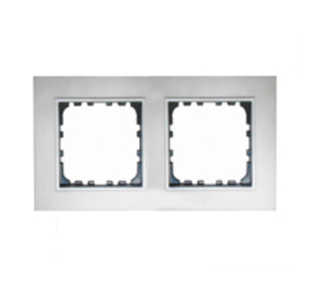 Рамка на 2 поста из натурального анодированного алюминия. Цвет Алюминий. LK Studio LK60 / LK80 (ЛК Студио ЛК60 / ЛК80). 864223