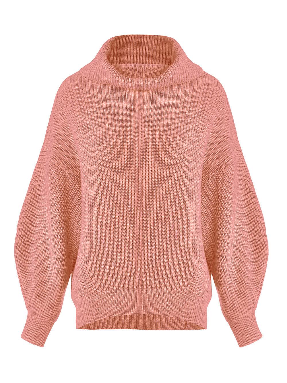 Женский свитер кораллового цвета из шерсти и кашемира - фото 1