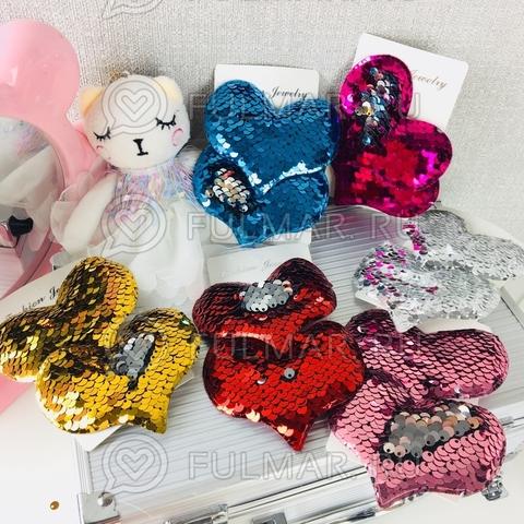 Набор заколок Большие Сердечки 6 штук  с двусторонними пайетками меняющие цвет