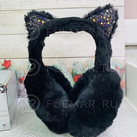 Наушники утеплённые складные для девочки с ушками Кошечки в блёстках цвет: чёрный