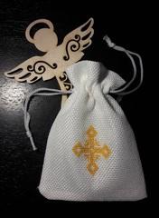 Аксессуар для Крестин - мешочек с вышитым крестиком