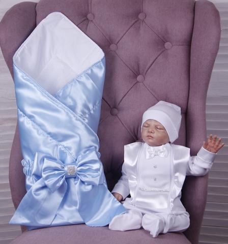 Летний комплект на выписку из роддома Ангел + Фрак (голубой+белый)