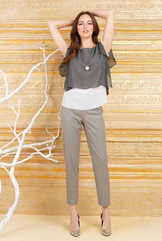 Фото оливковые широкие брюки укороченной длины - Брюки А468б-189 (1)