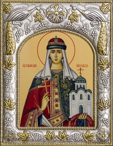 Серебряная икона именная Ольга Равноапостольная 18x14см