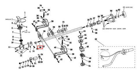 Вал вертикальный 8*700 9T для лодочного мотора T2 SEA-PRO