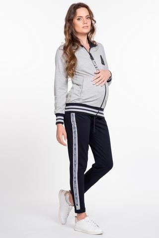 Спортивный костюм для беременных и кормящих 10028 серо-синий