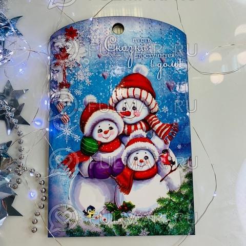 Доска разделочная деревянная Новогодняя декоративная Снеговики Семья с пожеланием