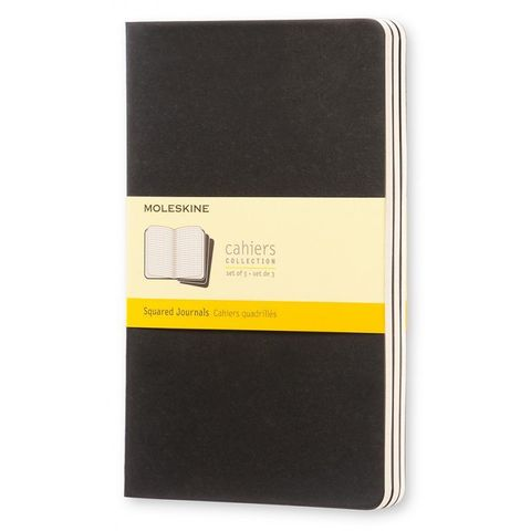 Блокнот Moleskine CAHIER JOURNAL QP317 Large 130х210мм обложка картон 80стр. клетка черный (3шт)