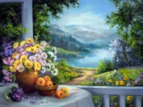 Картина раскраска по номерам 40x50 Цветы в вазе на фоне озера и гор