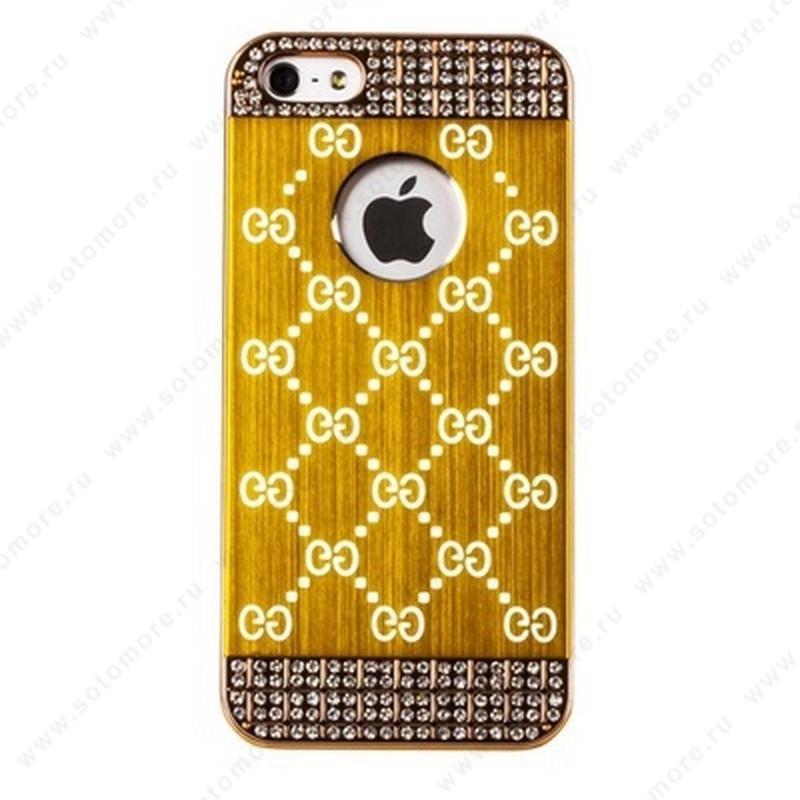 Накладка GUCCI металлическая для iPhone SE/ 5s/ 5C/ 5 золото золотистая