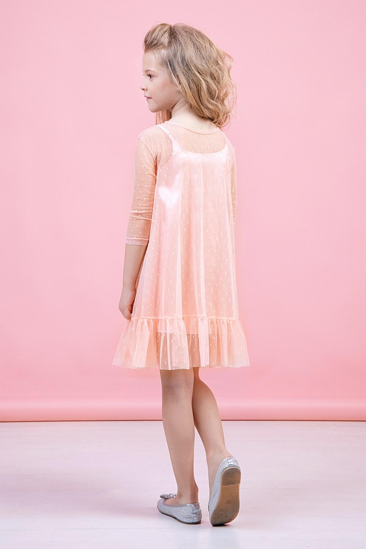 Платье абрикосовое для девочки 38-9007-3