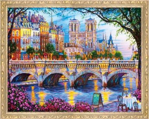 Алмазная Мозаика 50x65 Вид на другую сторону города через реку