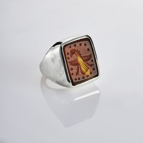 Кольцо-печатка с инталией 15 (сердолик, антик)