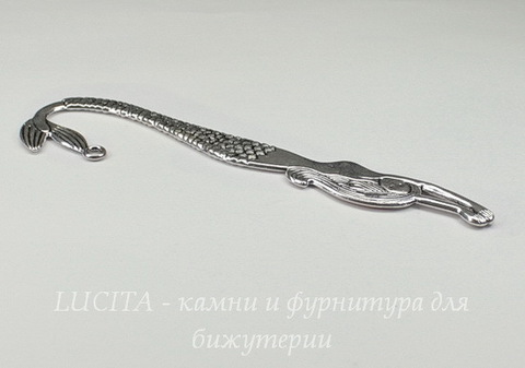 "Основа для закладки ""Русалка""  (цвет - античное серебро) 122 мм"