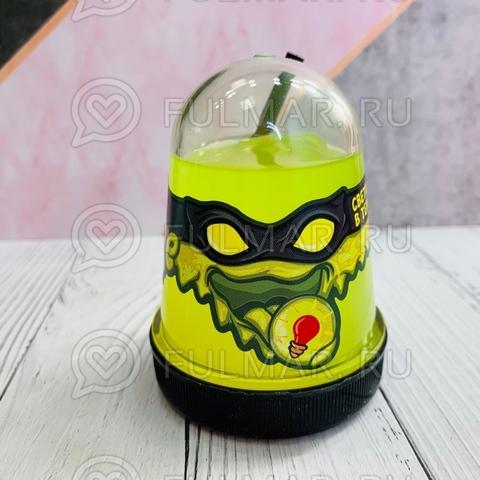 Слайм-лизун Slime Ninja надувающийся, с трубочкой, цвет: Жёлтый светится в темноте