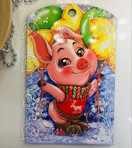 Доска разделочная деревянная Новогодняя декоративная Свинка Радостная