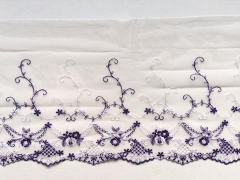Вышивка на сетке, ЛЕВАЯ, 18 см, шампань/фиолетовый, м