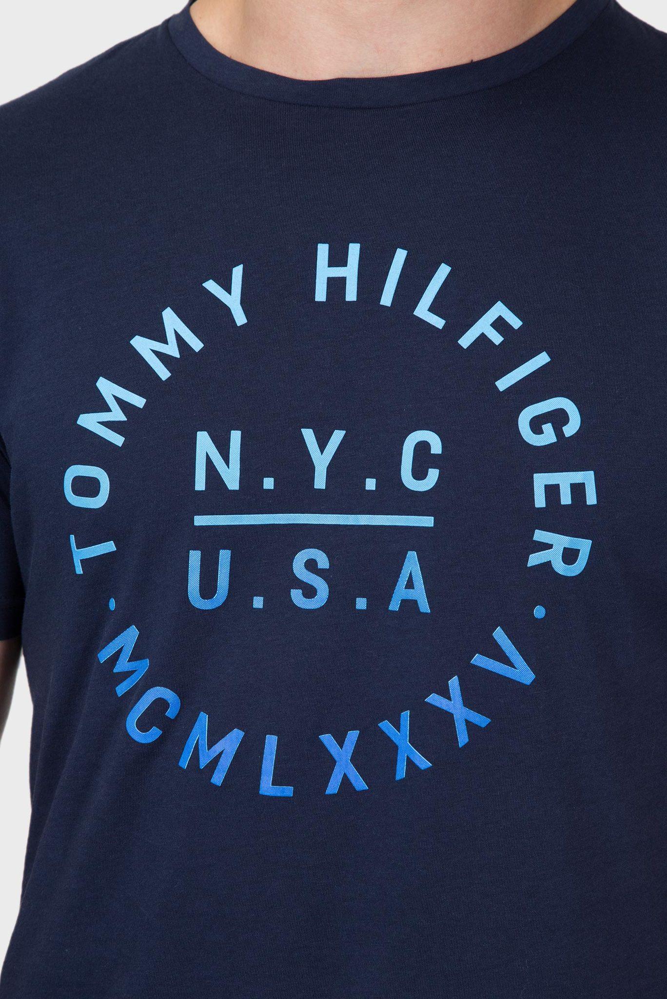 Мужская темно-синяя футболка с принтом Tommy Hilfiger