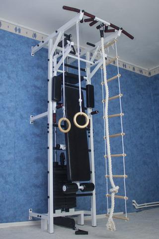 Усиленная шведская стенка с блочным тренажером №7