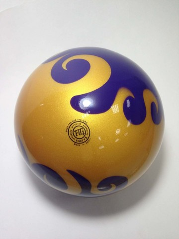 Мяч AMAYA 18,5 см мраморный желтый для художественной гимнастики