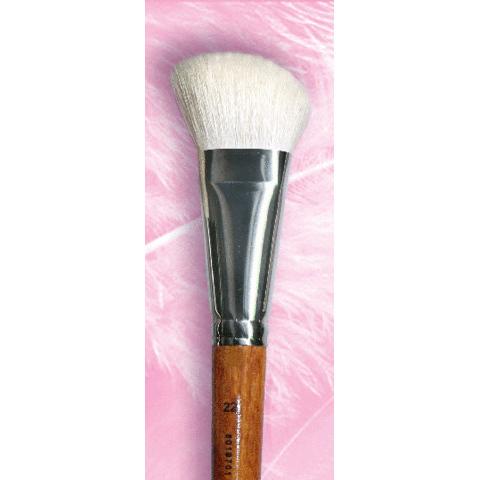 Кисть №22 скошенная для сухой коррекции / белая коза / ручка махагон / 801970122