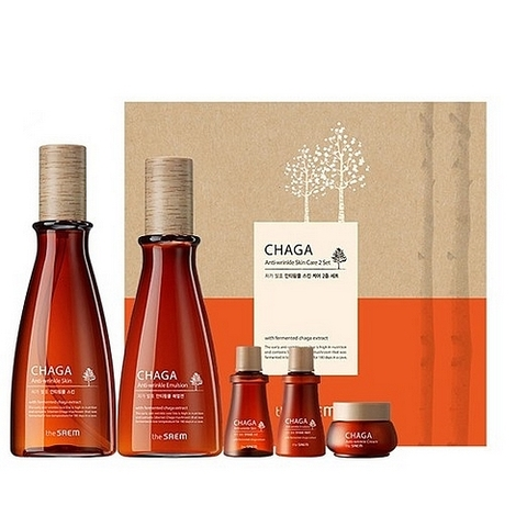 SAEM CHAGA Набор с экстр. чаги антивозр. CHAGA Anti-aging 2 SKU Basic Skin Care Set (Skin, Emulsion)