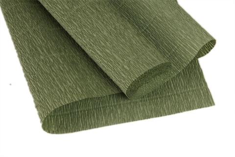 Гофрированная бумага, цвет 612, мох, 180г, 50х250 см, Cartotecnica Rossi (Италия)