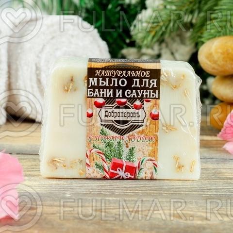 Натуральное мыло для бани и сауны Ваниль-Овёс новогоднее
