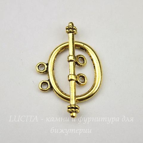 "Замок - тоггл из 2х частей ""Овал"" на 2 нити 21х20 мм, 33 мм (цвет - античное золото)"
