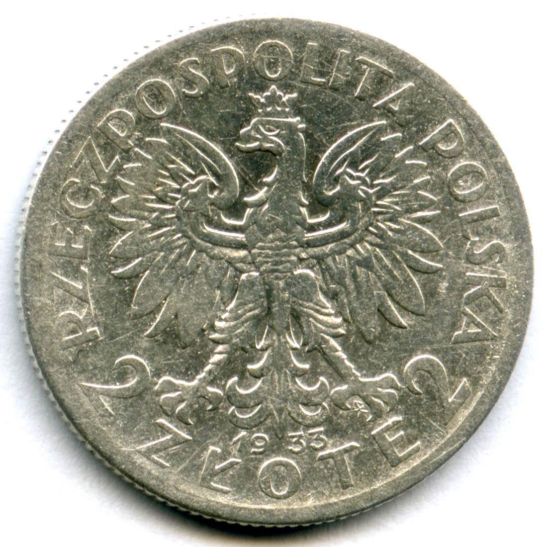 2 злотых. 1933г. Польша (F-VF).