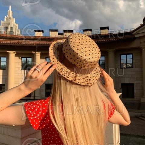 Соломенная канотье женская шляпа с коричневой лентой сетка в горошек