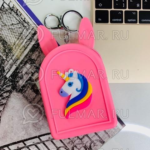 Силиконовая ключница-кошелек-брелок с ушами зайца Единорог (цвет: малиновый)