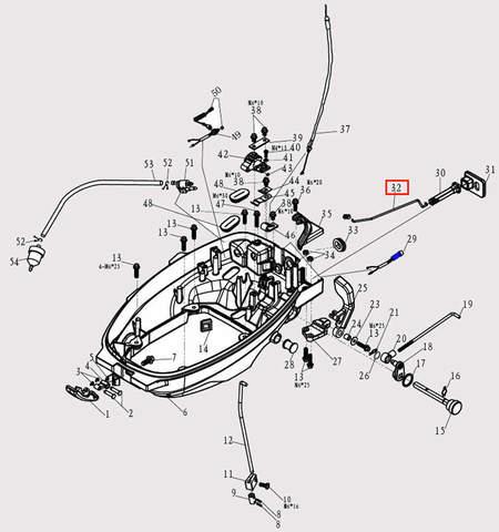 Тяга ручки воз. заслонки для лодочного мотора F9.8 Sea-PRO (2-32)