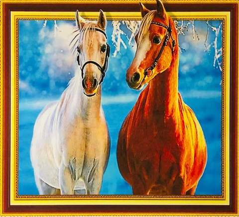 Алмазная Мозаика 5D 40x50 Зимняя прогулка лошадей (арт.LT0386)